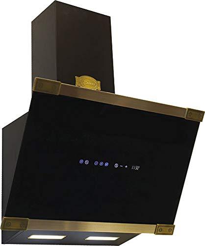 Kaiser AT 6445 AD Dunstabzugshaube Wandhaube 60 cm, kopffreihaube,1250m³/h, Schwarz Glas, Metallleisten •Antique Gold•,Dunstabzug, Timer,Abzugshaube,Ablufthaube,Umlufthaube,Randabsaugung,LED Display