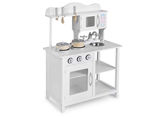 Ricokids Kinderspielküche Holzküche Kinderküche Spielküche aus Holz mit Zubehör 60 x 30 x 85 cm