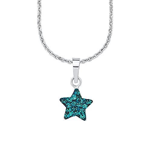 Amor Kette mit Anhänger für Mädchen, Sterling Silber 925, Kristallglas Stern
