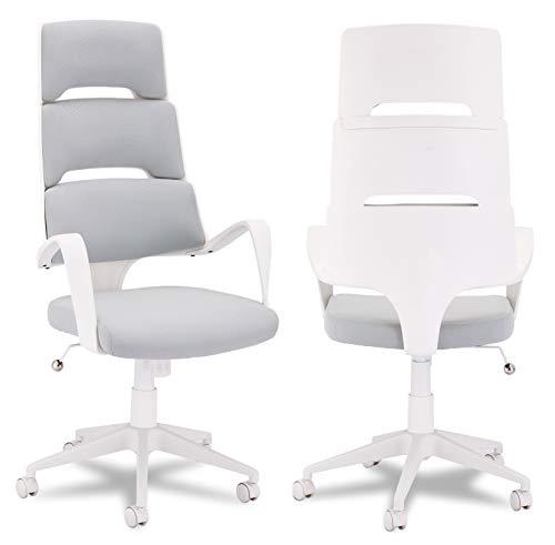 Ibbe Design Ergonomisch Weiss Grau Bürostuhl Schreibtischstuhl Domo mit Armlehne, Höhenverstellbar, Drehstuhl, Belastbar bis zu 150kg, 62x63x128 cm
