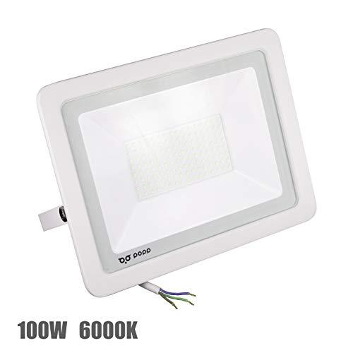 POPP Foco Proyector LED 100W para uso Exterior Iluminación Decoración 6000K luz fria Impermeable IP65 Blanco transparente y Resistente al agua. (100)