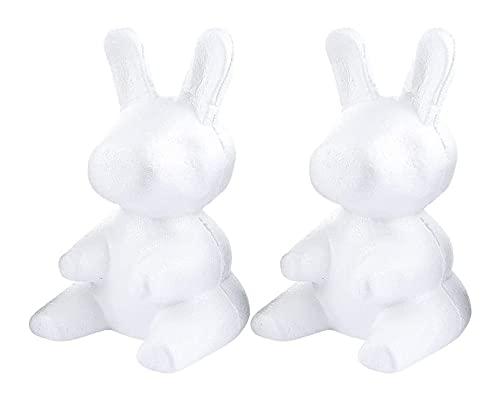 LIXBD 2 Stück Bastelhase Form Modellieren Styropor Hasen Figur Kuchen Topper für DIY Ostern Malerei Blumen Arrangieren Hochzeit Party