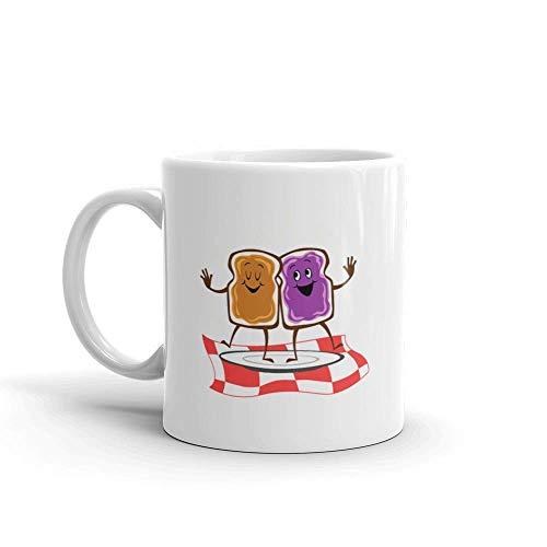 Dozili Grappige koffiemok - pindakaas op brood en gelei dansen keramische koffiemok beker, 11 oz, wit