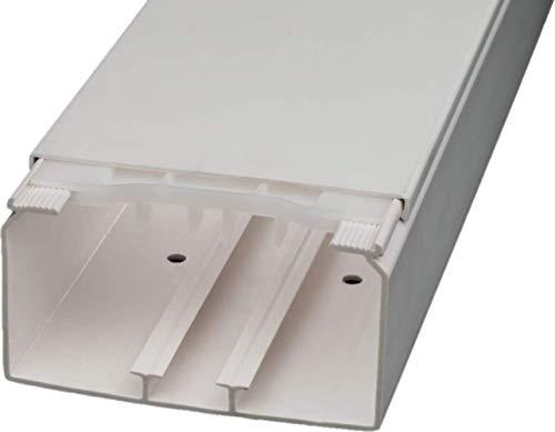 CabCom PVC Kabelkanal Kabelleiste Kabelschacht Brüstungskanal zur Montage an Wand oder Decke diverse Größen und Farben 2 Meter 110 x 60 mm weiß