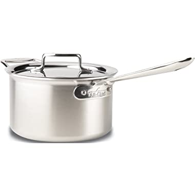 All-Clad BD55204 D5 Brushed 18/10 Stainless Steel 5-Ply Bonded Dishwasher Safe Sauce Pan Cookware, 4-Quart, Silver
