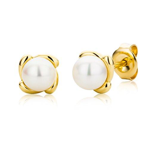 Miore Schmuck Damen Ohrstecker mit weiße runde Süßwasserperlen 5 mm Ohrringe aus Gelbgold 9 Karat / 375 Gold
