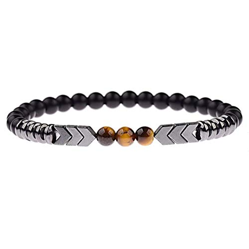 2019 Charm Men Black Matte Stone Arrow Shape Hematite Beaded Bracelet Tiger Eye Bracelets&Bangles Women AB352