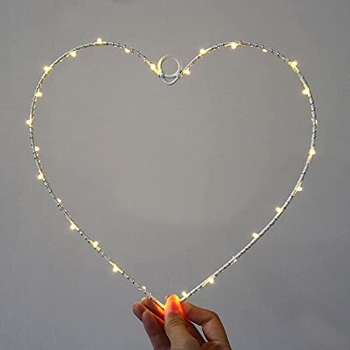 Wankd Ghirlanda luminosa 35 LED, forma cuore, luce bianca calda, funzionamento batteria, luci LED decorative in filo ferro, da appendere, per interni ed esterni, per feste matrimonio (1 PCS)
