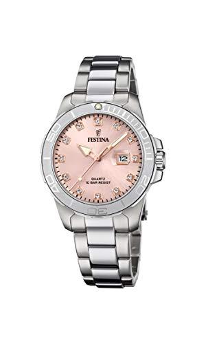 FESTINA Reloj Modelo F20503/2 de la colección Boyfriend Collection, Caja de 34,5 mm Rosa con Correa de Acero para señora