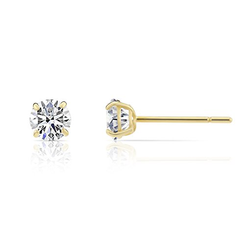 14k Yellow Gold Solitaire Round Cubic Zirconia Stud Earrings with Silicone Pushbacks 3mm