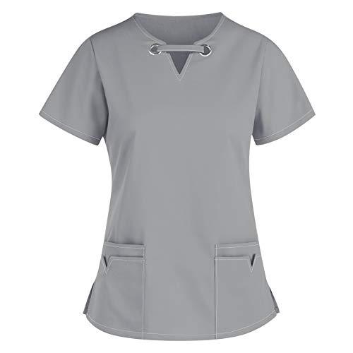 Padaleks Kasack Damen Pflege Einfarbig Bluse T-Shirt Schlupfkasack mit Taschen Kurzarm V-Ausschnitt Schlupfhemd Berufskleidung Krankenpfleger Zwei Taschen Uniformen