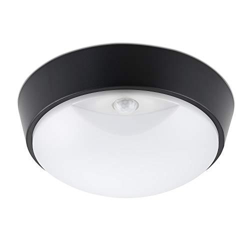 sweet-led Außenbeleuchtung mit Sensor 14W LED Aussenleuchte, 4000K, 1000lm, IP54 Wasserdicht, Wandlampe mit Bewegungsmelder, Schwarze Deckenleuchte