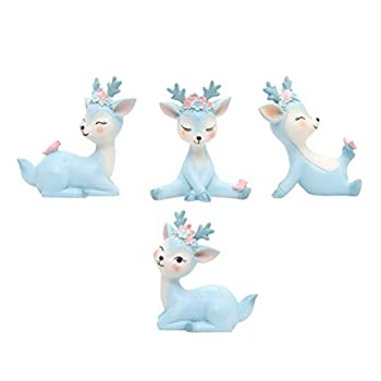 YARDWE 4pcs Deer Figurines Cake Toppers Forest Animals Figures Woodland Figurines Desktop Decoration Cute Miniature Blue