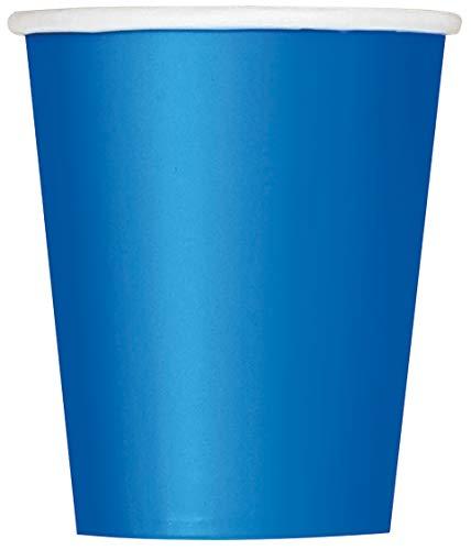 Unique Party- Party Paper Cups Set di 14 Bicchieri di Carta, Blu (Reale), 266 ml, 31476