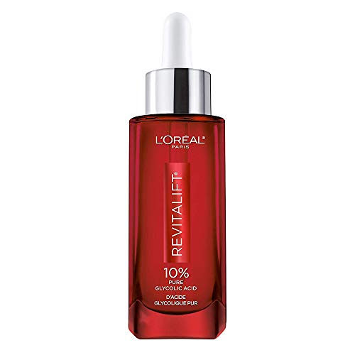 Glycolic Acid Peel Serum for Skin, L'Oreal Paris Revitalift Derm Intensives 10% Pure Glycolic Acid Serum | Dark Spot Corrector, Even Tone, Reduce Wrinkles, Exfoliator With Aloe, Hydrates, 1.7 Oz