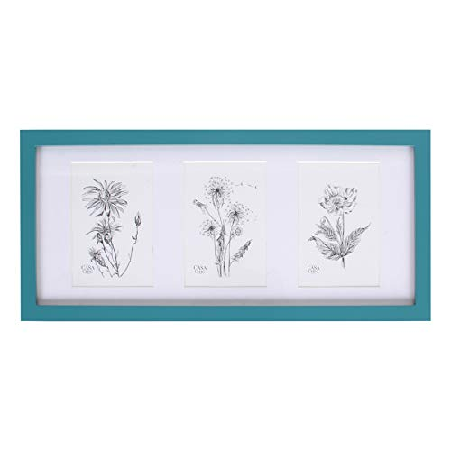 Classic by Casa Chic Echtholz 3er Bilderrahmen für 10x15 Bilder mit Plexiglasscheibe - English Green/Teal - Rahmenbreite 2cm