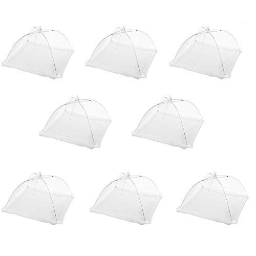 Juego de 8 cubiertas de malla protectora para alimentos de 43,18 cm, reutilizables y plegables. Ideal para uso al aire libre y mantener a los insectos lejos de la comida