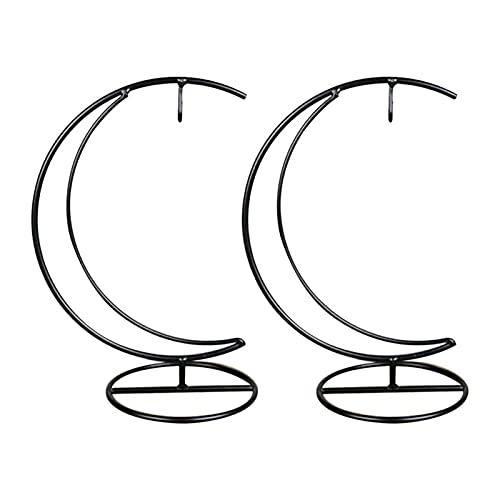 Cornice per la decorazione della casa Titolare 2Pcs Micro Paesaggio del ferro battuto a forma di luna Hanging Bottiglia Ferro Rack delicato pensili in vetro terrario decorazione domestica Cornice deco