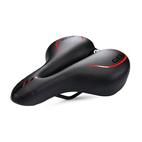 Asvert Sillin de Bicicleta Sillin MTB Antiprostático de Ciclismo Grande Transpirable Sillín para Bici de Urbana Carretera Montaña (Negro y Rojo)