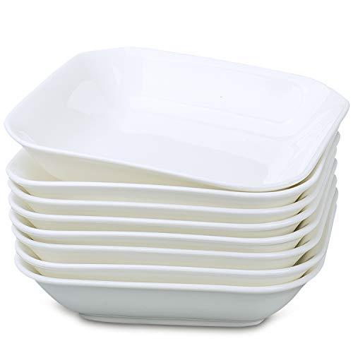 JDZTC Salad Bowls White Square Plates Porcelain Dessert Plate set of 8 (white)