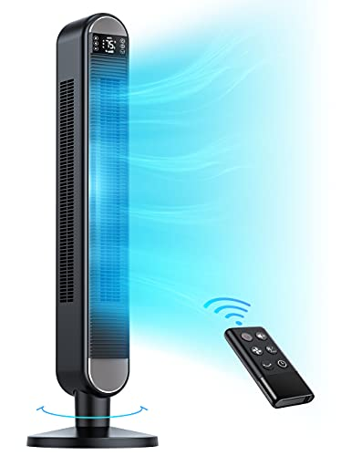 Dreo Tower Fan with Remote, 90° Oscillating Bladeless Fan, 42 Inch, Quiet with 6 Speeds, Large LED Display, Touchpad, 12H Timer, Floor Fans for Bedroom Whole Room Home Office