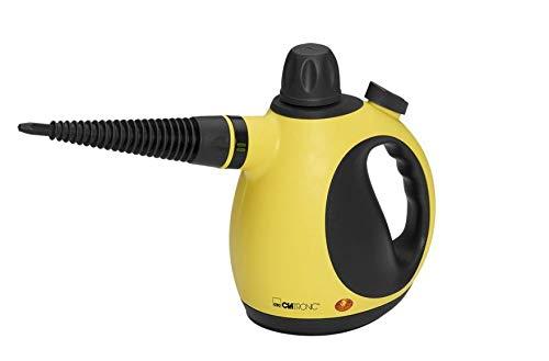 Clatronic DR 3653 Limpiador al vapor compacto de mano, 9 accesorios, 1050 W, 250 milliliters, 18/10 Steel, Amarillo y Negro