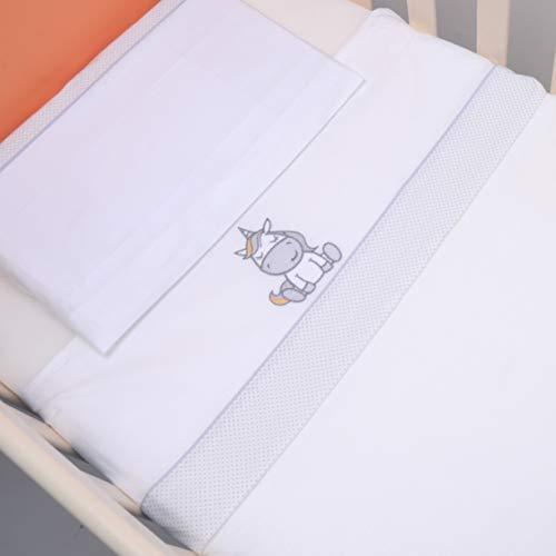 PEKITAS Bebe Set Di Lenzuola 50x80cm 3 Pezzi Miniculla Culla 100% Cotone Federa Per Cuscino Lenzuolo con Angoli Unicorno Bianco