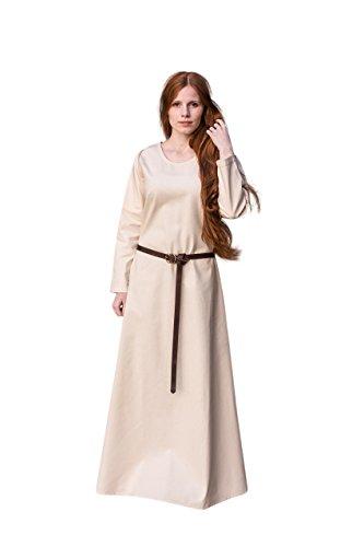 Mittelalter Unterkleid Freya knöchellange mittelalterliche Mode Baumwolle schwere Stoffqualität Natur - XL