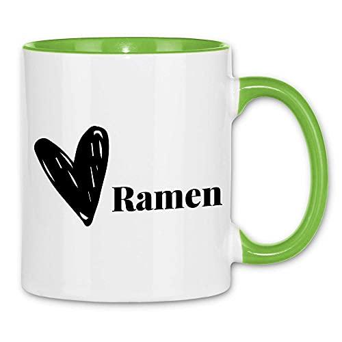 Print Dynastie Taza Ramen Design with Heart Instant Noodles Japón sopa de fideos Negro, Color:White Light Green