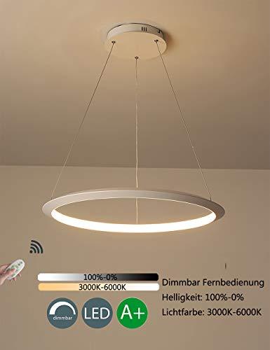 Dimmable LED Suspension Moderne Rond 1 Anneau Conception Suspendus Lustre Salon Salle À Manger Table À Manger Chambre Éclairage Appartement Lampe Fer Acrylique Lumière Blanc,80cm