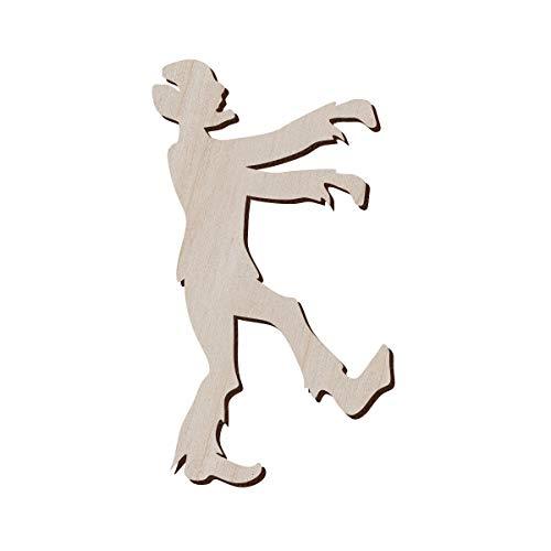 Juego de 10 zombies de madera para manualidades y decoración, pendientes zombi, collar zombi, forma de zombi, 7.1x12.7 cm