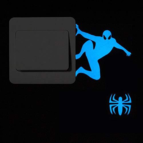 YB&GQ 2 STK Glow In The Dark Lichtschalter-Aufkleber,Leuchtende Cartoon-Muster Wandaufkleber,Abnehmbare Vinyl Wechseln Aufkleber Für Kinder Wohnzimmer Büro Spider-Man Blau