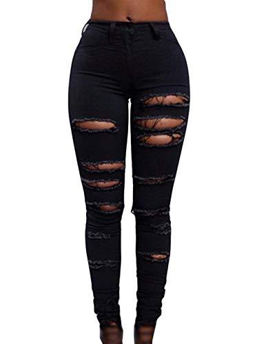 Adelina Damen Jeanshose Bleistift Hosetaille Löcher Gerissen Kaputte Slim Fit Jean Knöpfen Einreihig Denim Trousers (Color : Schwarz, Size : M)