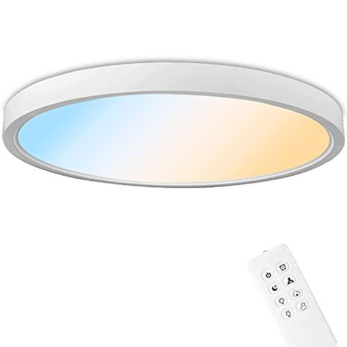 Anten Deckenlampe Tokyo | 24W LED Deckenleuchte mit Fernbedienung | 3 Lichtfarbe + Helligkeit dimmbar | Ø30cm rund | 2,5cm flach | weiß LED Lampe für Küche, Flur, Wohnzimmer, Schlafzimmer.