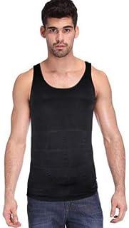 Ccoco男性のボディシェイカーベストは、筋肉の腹部を保持するウエストコンプレッションフィットシャツ - ブラック-XXL