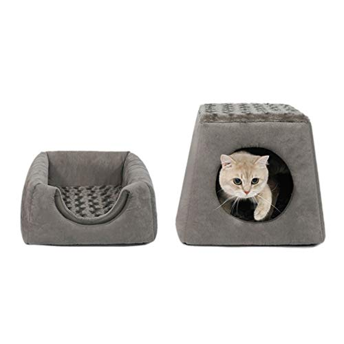 Pet bed 2 In 1 Faltbaren Haustier-Katzen-und Hundebett-Nest-Weichen Gemütlichen Plüsch-Schlafsack-Rutschfesten Sofakissen (Color : A)