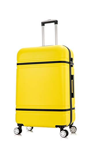 DK Luggage Starlite ABS Large 28' Hardshell Suitcase 4 Wheel Spinner with Black Trimming Yellow