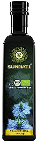 Sunnati® BIO Schwarzkümmelöl Gefiltert, kaltgepresst 1. Pressung 100{bb5866630d5fcb5c89af2fc54b84ca1d33cbae34761c8d1c2a31d369960d441c} rein 250ml