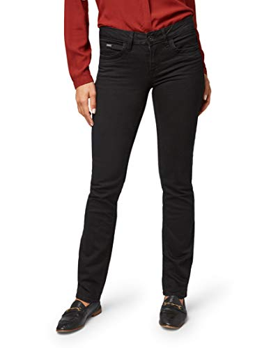 TOM TAILOR Damen Jeanshosen Alexa Straight Jeans Black,36/32
