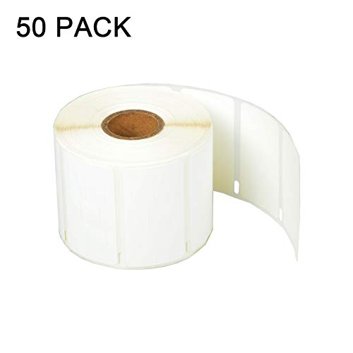 "SuperInk [50 Roll, 1500 Labels/Roll] White Self-Adhesive Jewelry Price Tag 2-up Labels Barbell Style Compatible for Dymo 30299 3/8"" x 3/4"" use in LabelWriter 300 310 450 Duo 4XL Printer,BPA Free"
