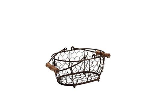 T & G Woodware–Provence Cesta Ovalada wireware, marrón rústico, pequeño