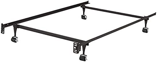 K and B Furniture Co Inc K&B B9000 1 1/4-inch Angle Iron Steel Twin-Size Bed Frame with 4 Roller Wheels (2 with Brakes, 2 Without)