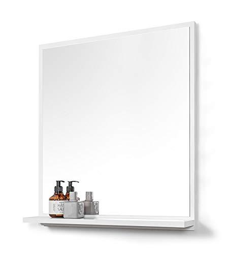 DOMTECH Grande specchio da bagno con ripiano bianco da parete, 60 x 70 cm