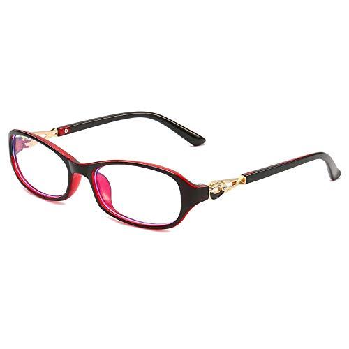 Anti-blauw licht anti-vermoeidheid bril dames elegante platte spiegel HD mode bril Buiten Zwart Binnen Rood Frame
