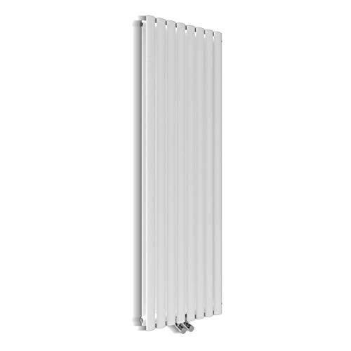 ELEGANT Design Paneelheizkörper Röhren 1600 x 472 mm Weiß Doppellagig Badheizkörper Mittelanschluss Vertikal Röhren Heizkörper