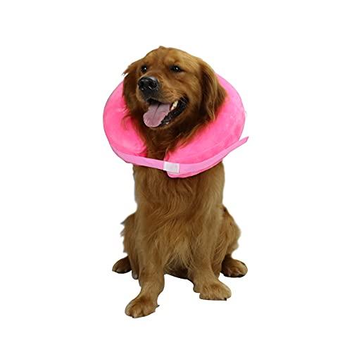 TT.WALK Aufblasbarer Hundekragen,Aufblasbares Halsband für Hunde, Schützender Aufblasbarer Kragen für Hunde und Katzen,Einstellbar Bequem Schutzkragen mit Klettverschluss,Groß,Pink