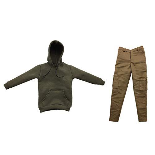 F Fityle 1/6 Sudadera con Capucha Larga para Hombre Y Pantalones Casuales de Color Caqui para Juguetes Calientes de 12 '