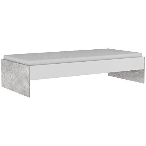 demeyere Concrete Bett 90x 200cm, folierte Spanplatte, Weiß und Beton, 202,8x 94x 42,3cm
