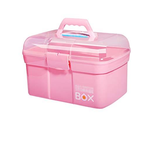 Boîte à Outils de manucure Boîte de Rangement Multifonction Multifonction à Deux Compartiments (Color : Pink, Taille : L)