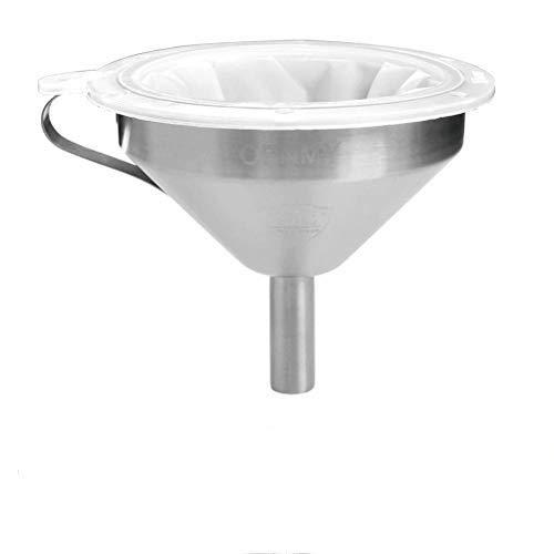 OFNMY Embudo de Acero Inoxidable ø 13cm + 2pcs Filtro de Alimentos Filtro para Colador de Ensamblaje para Embudo de Cocina para Vino, Leche, Jugo,etc (200 +400 mallas)